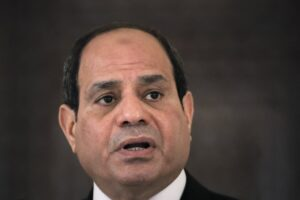 Egyptian President Abdel Fattah el-Sisi speaks during a press conference in Bucharest